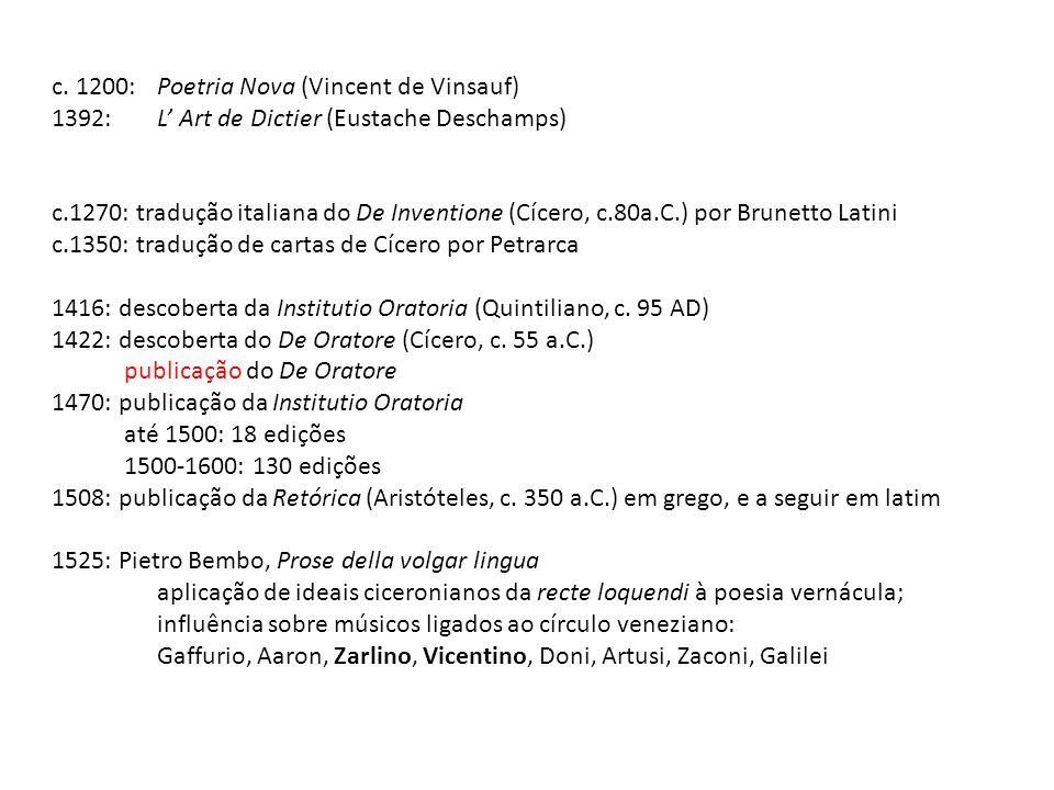 c. 1200: Poetria Nova (Vincent de Vinsauf)