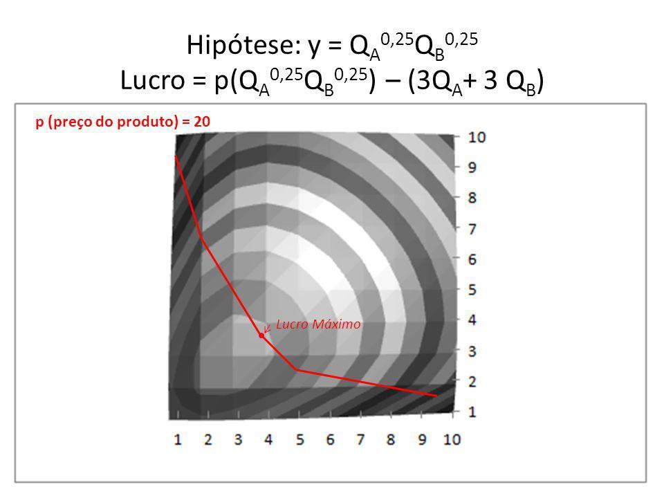 Hipótese: y = QA0,25QB0,25 Lucro = p(QA0,25QB0,25) – (3QA+ 3 QB)