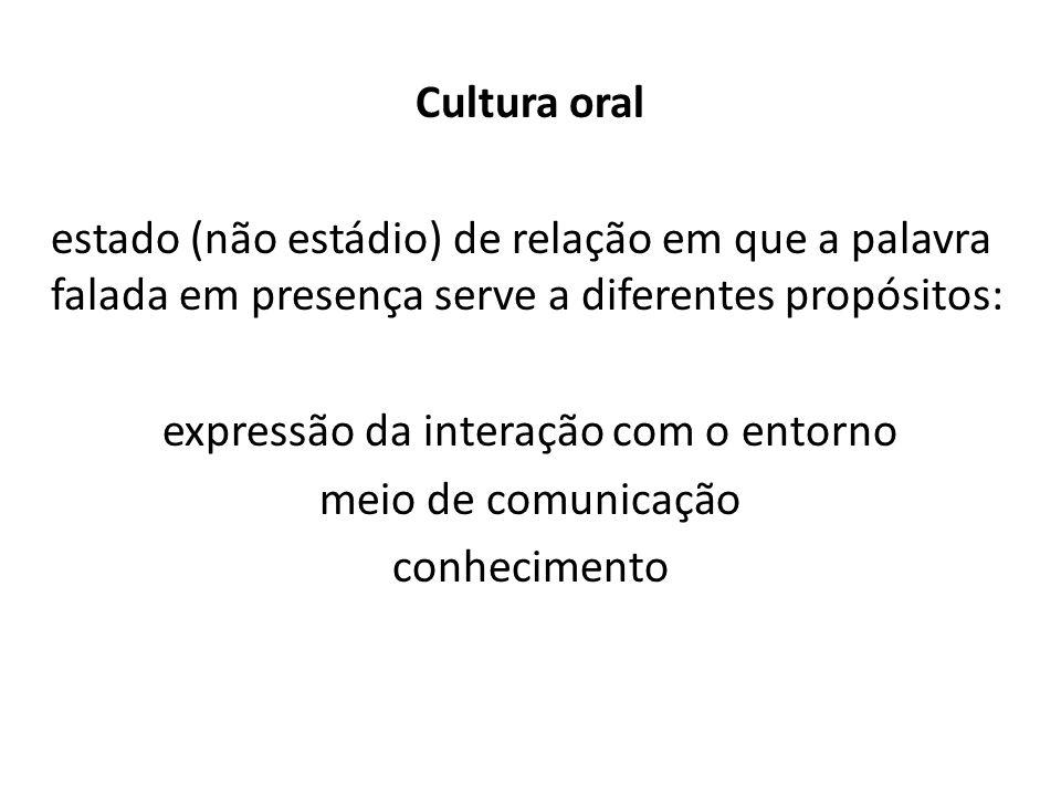 Cultura oral estado (não estádio) de relação em que a palavra falada em presença serve a diferentes propósitos: expressão da interação com o entorno meio de comunicação conhecimento