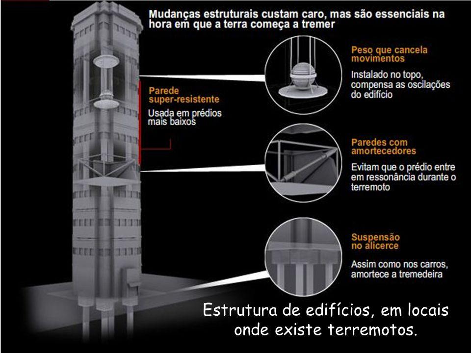 Estrutura de edifícios, em locais onde existe terremotos.
