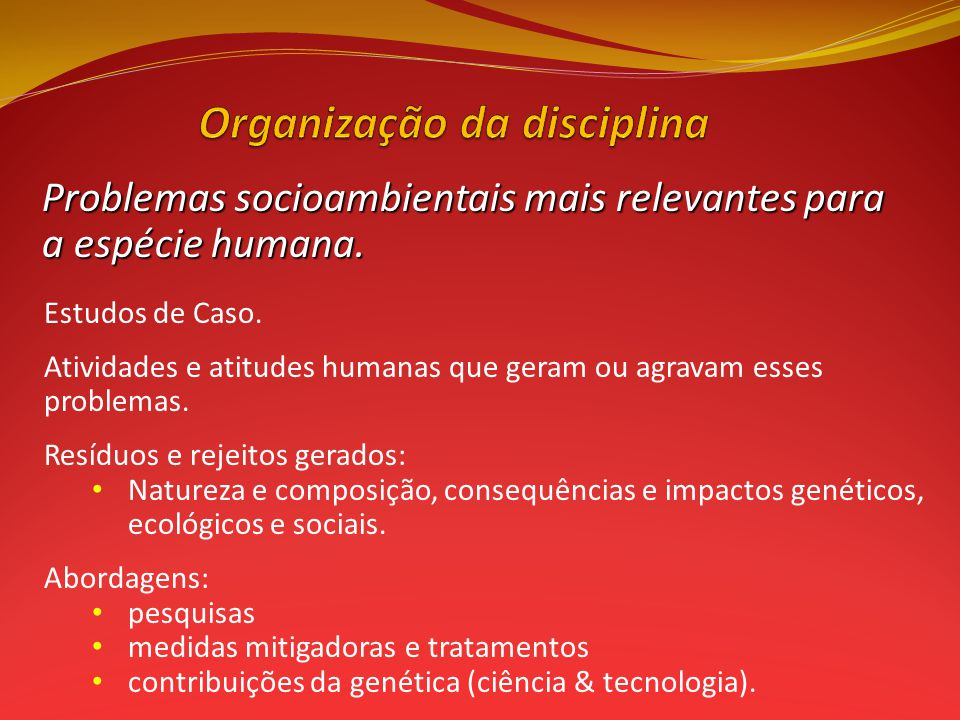Organização da disciplina