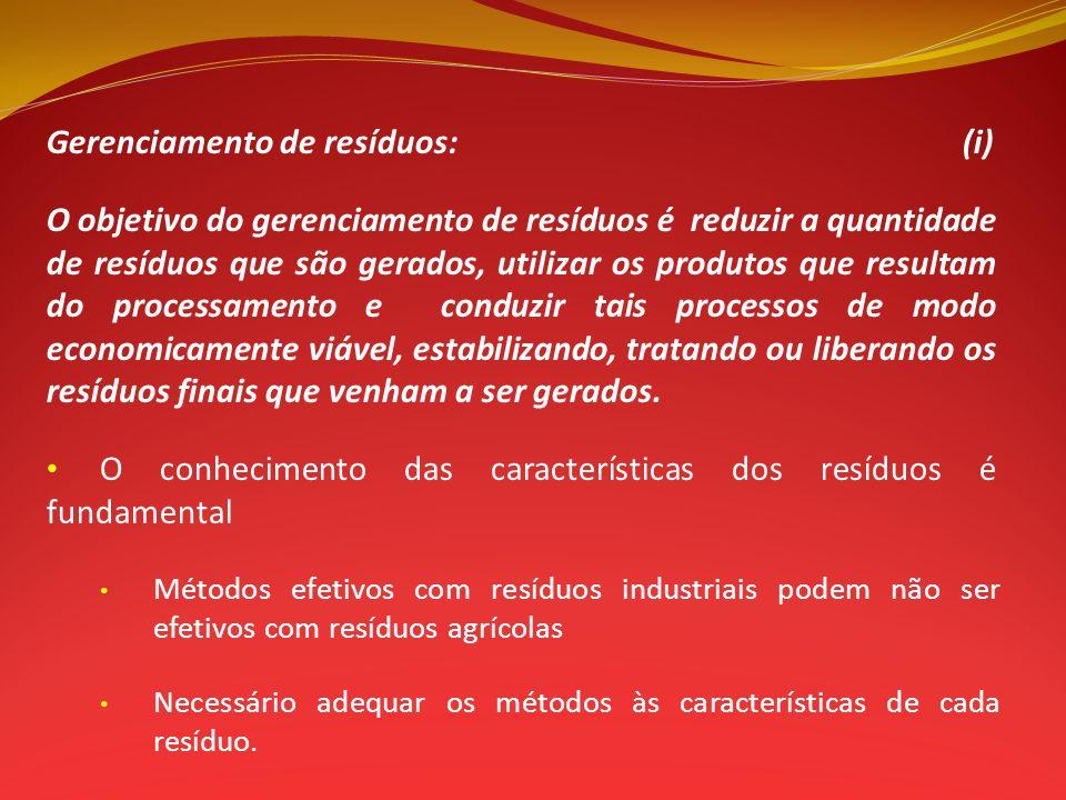 Gerenciamento de resíduos: (i)