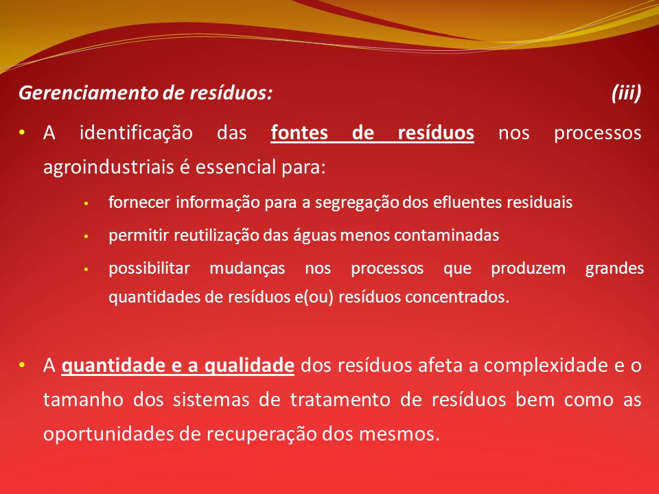 Gerenciamento de resíduos: (iii)