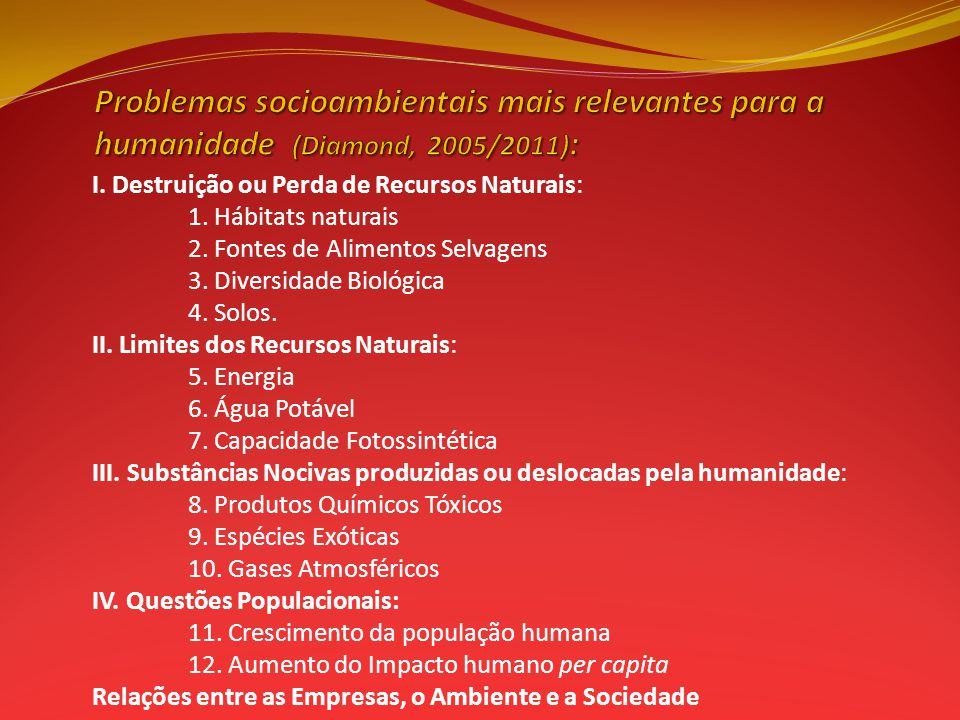 Problemas socioambientais mais relevantes para a humanidade (Diamond, 2005/2011):