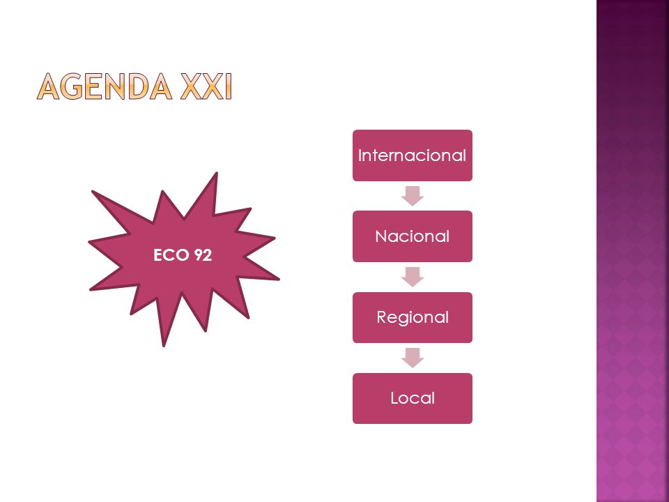 Agenda XXI Internacional Nacional Regional Local ECO 92