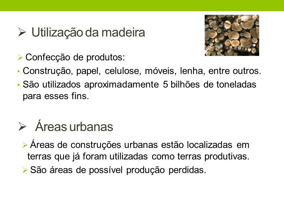 Utilização da madeira Áreas urbanas Confecção de produtos: