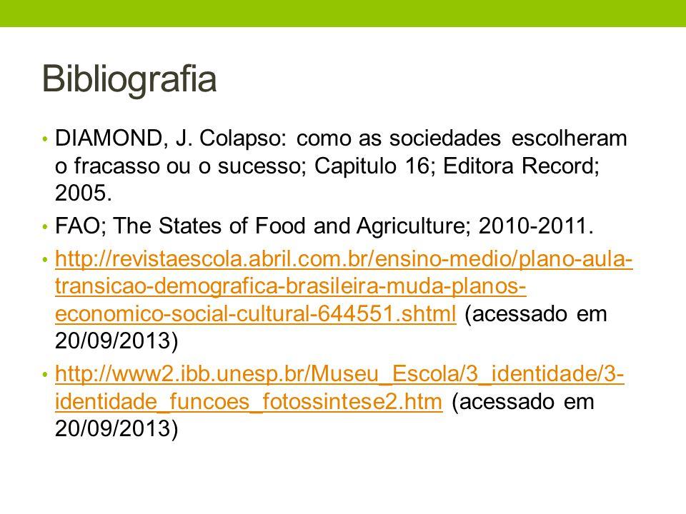 Bibliografia DIAMOND, J. Colapso: como as sociedades escolheram o fracasso ou o sucesso; Capitulo 16; Editora Record; 2005.