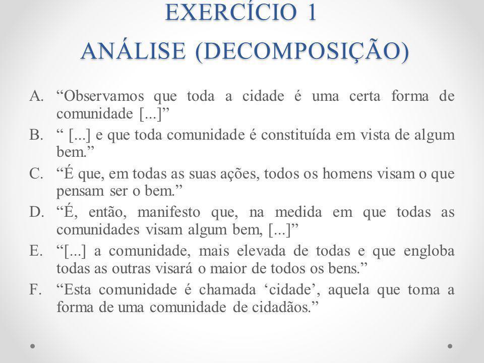 EXERCÍCIO 1 ANÁLISE (DECOMPOSIÇÃO)