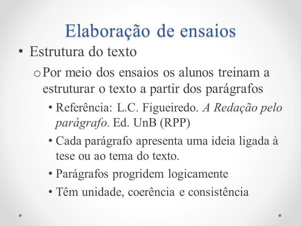Elaboração de ensaios Estrutura do texto