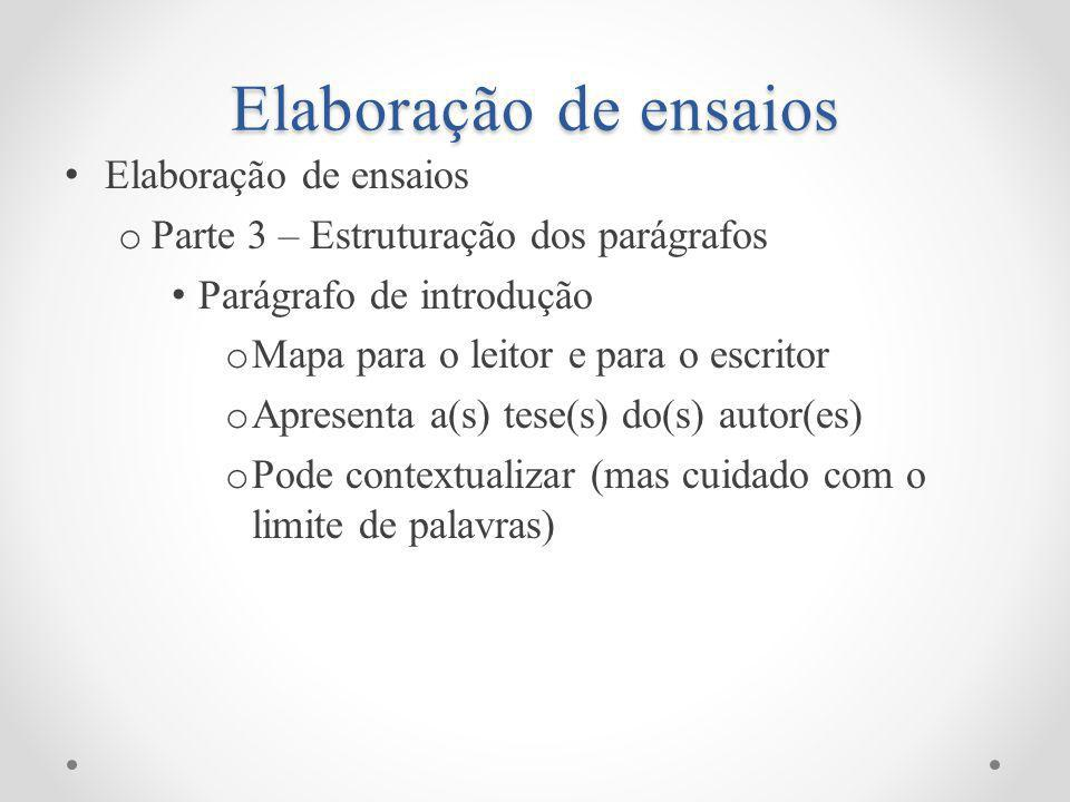Elaboração de ensaios Elaboração de ensaios