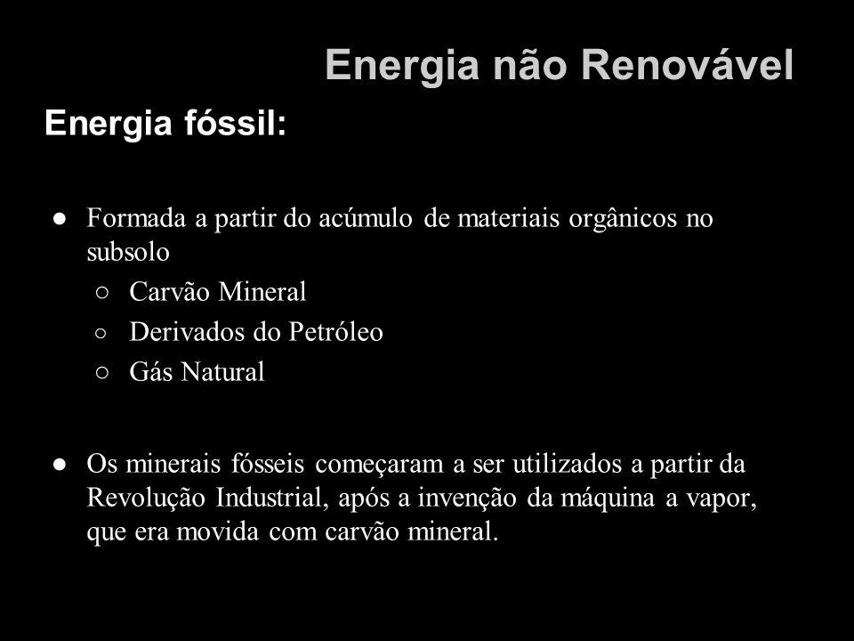 Energia não Renovável Energia fóssil: