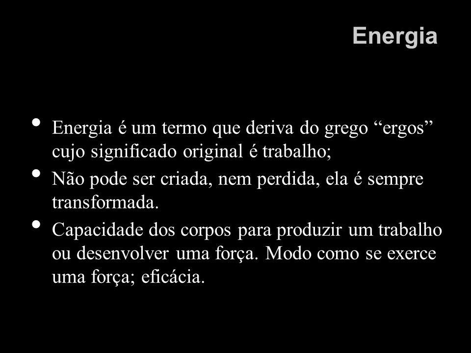 Energia Energia é um termo que deriva do grego ergos cujo significado original é trabalho;