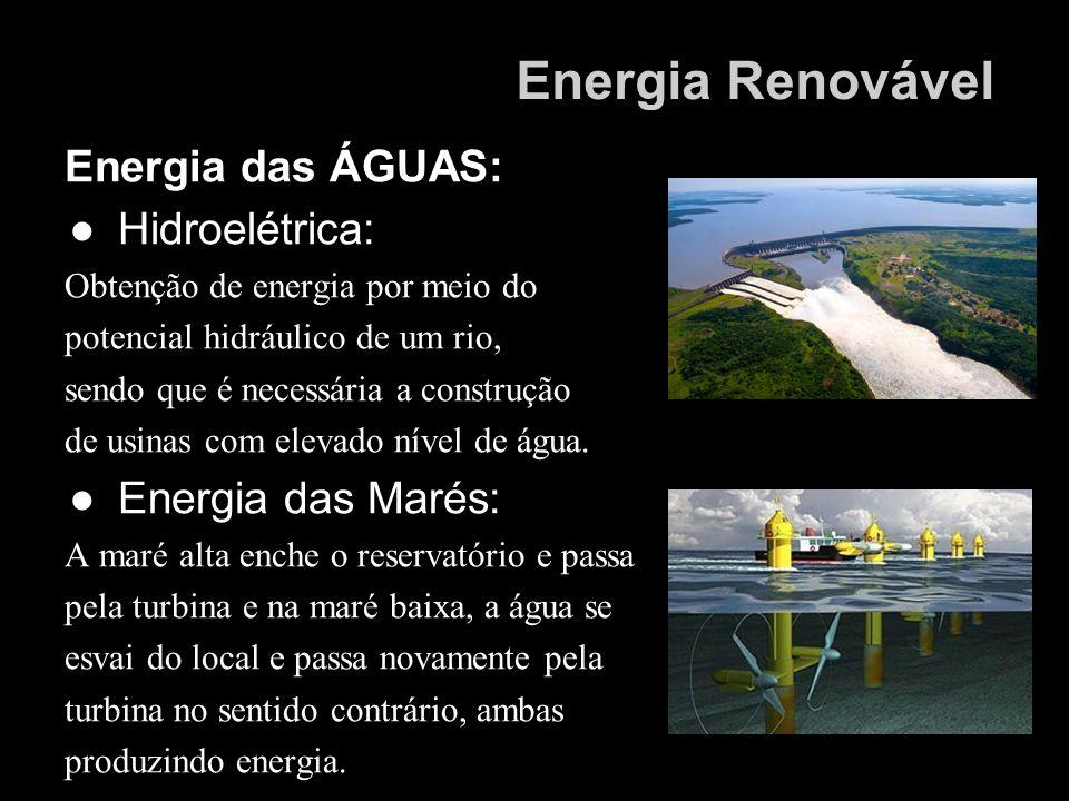 Energia Renovável Energia das ÁGUAS: Hidroelétrica: Energia das Marés: