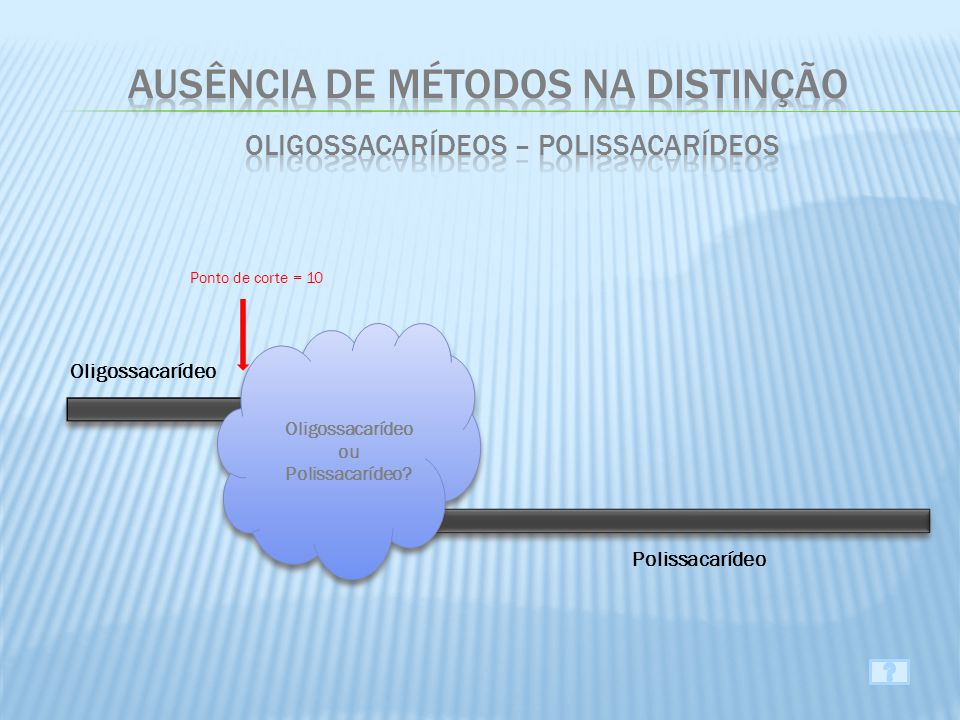 Ausência de métodos na distinção Oligossacarídeos – Polissacarídeos
