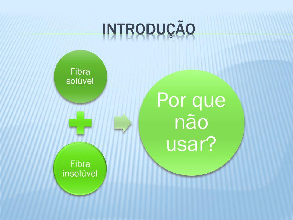 Introdução Fibra solúvel Fibra insolúvel Por que não usar