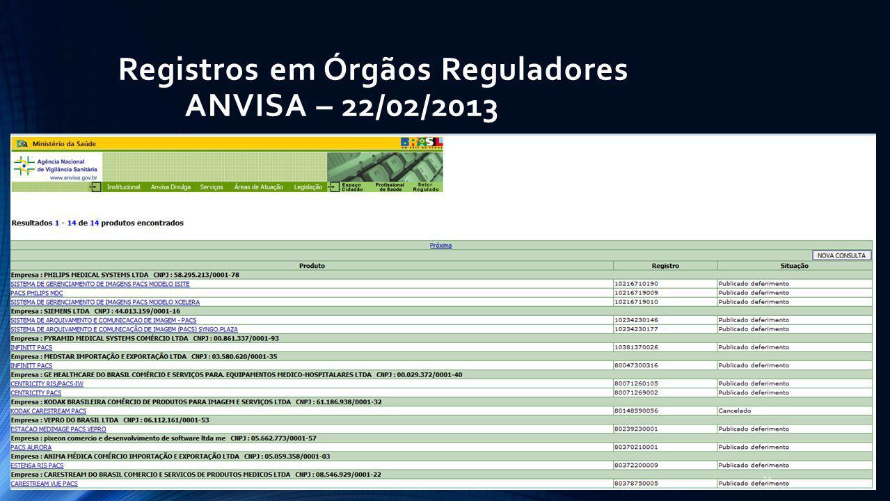 Registros em Órgãos Reguladores ANVISA – 22/02/2013