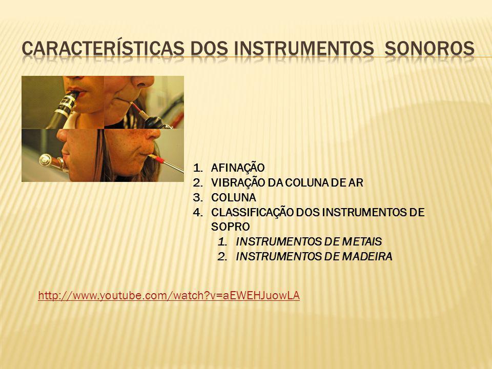 Características dos instrumentos sonoros