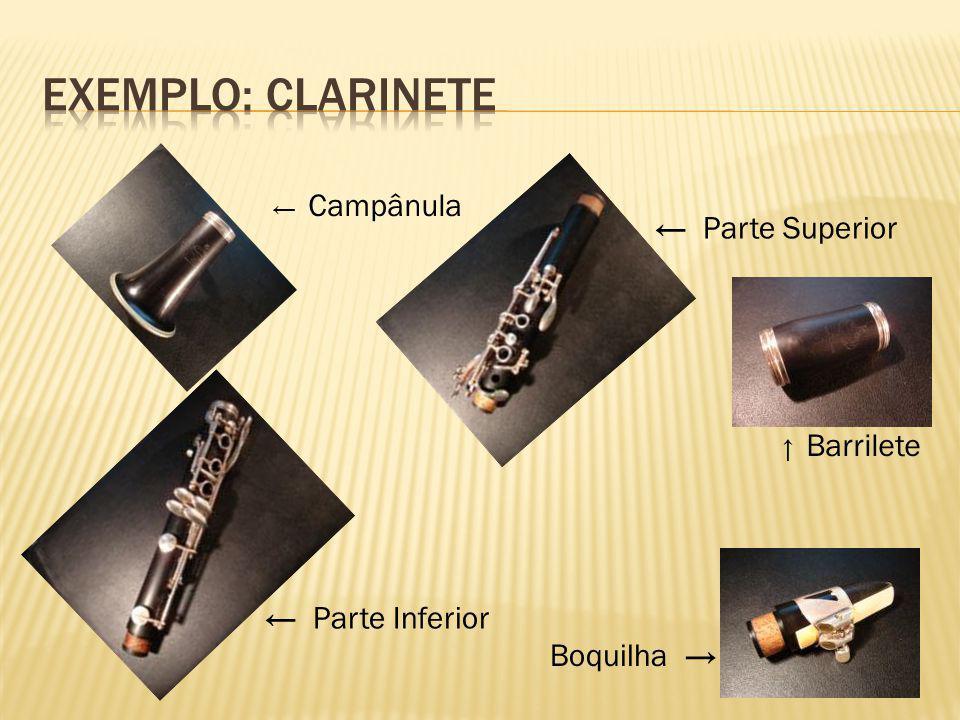 Exemplo: clarinete ← Parte Superior ← Parte Inferior Boquilha →