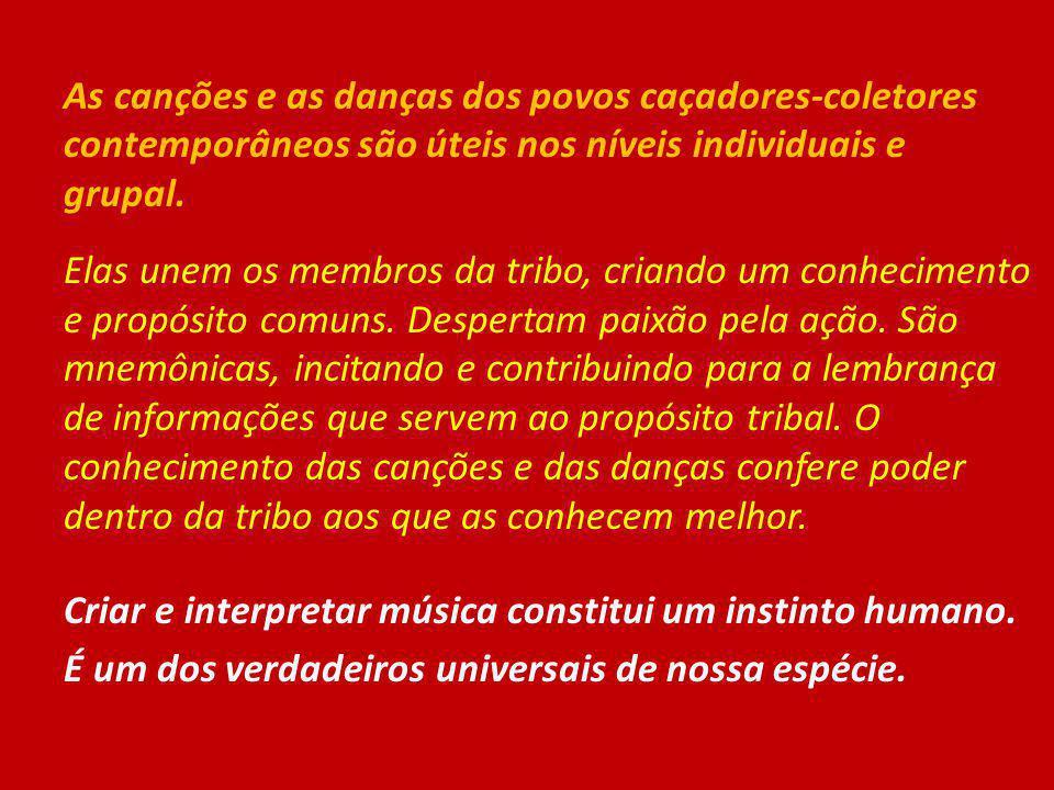 As canções e as danças dos povos caçadores-coletores contemporâneos são úteis nos níveis individuais e grupal.