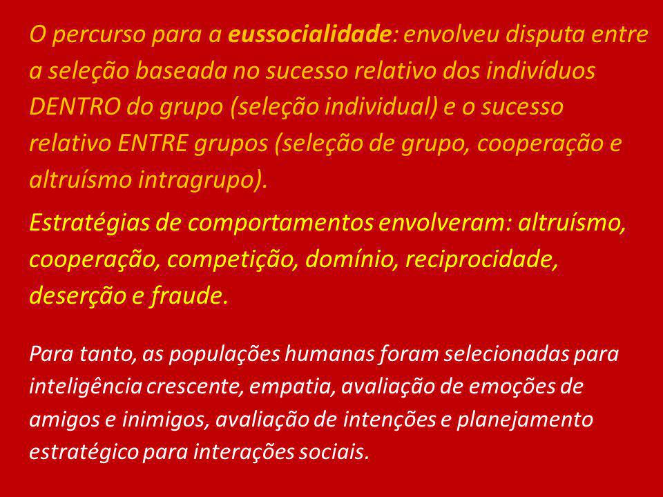 O percurso para a eussocialidade: envolveu disputa entre a seleção baseada no sucesso relativo dos indivíduos DENTRO do grupo (seleção individual) e o sucesso relativo ENTRE grupos (seleção de grupo, cooperação e altruísmo intragrupo).