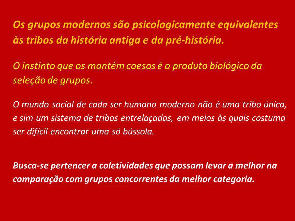 Os grupos modernos são psicologicamente equivalentes às tribos da história antiga e da pré-história.