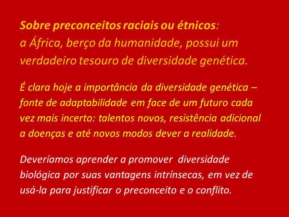 Sobre preconceitos raciais ou étnicos: