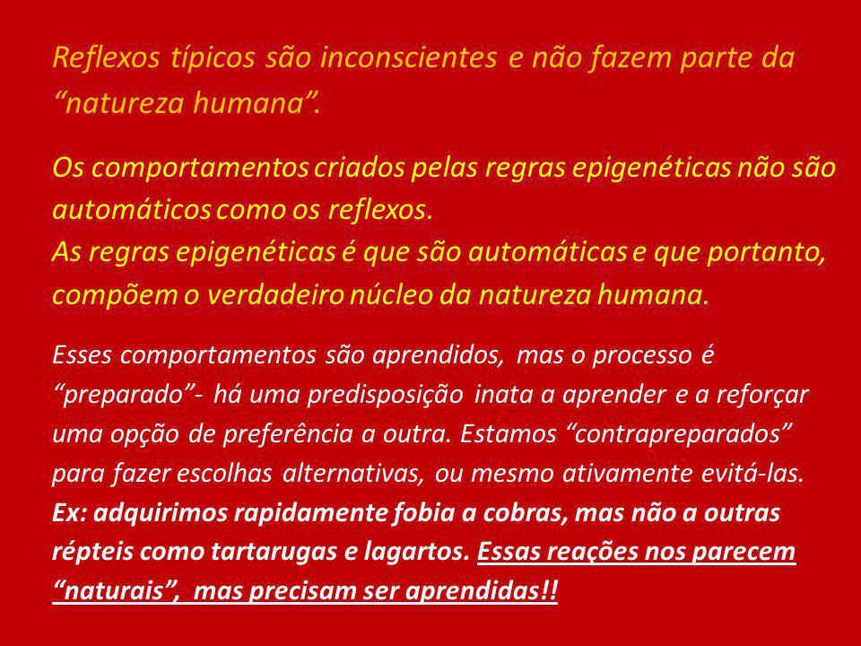 Reflexos típicos são inconscientes e não fazem parte da natureza humana .