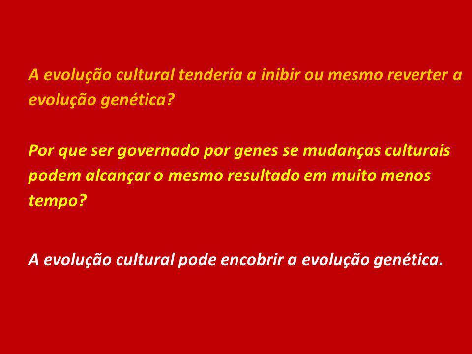 A evolução cultural tenderia a inibir ou mesmo reverter a evolução genética