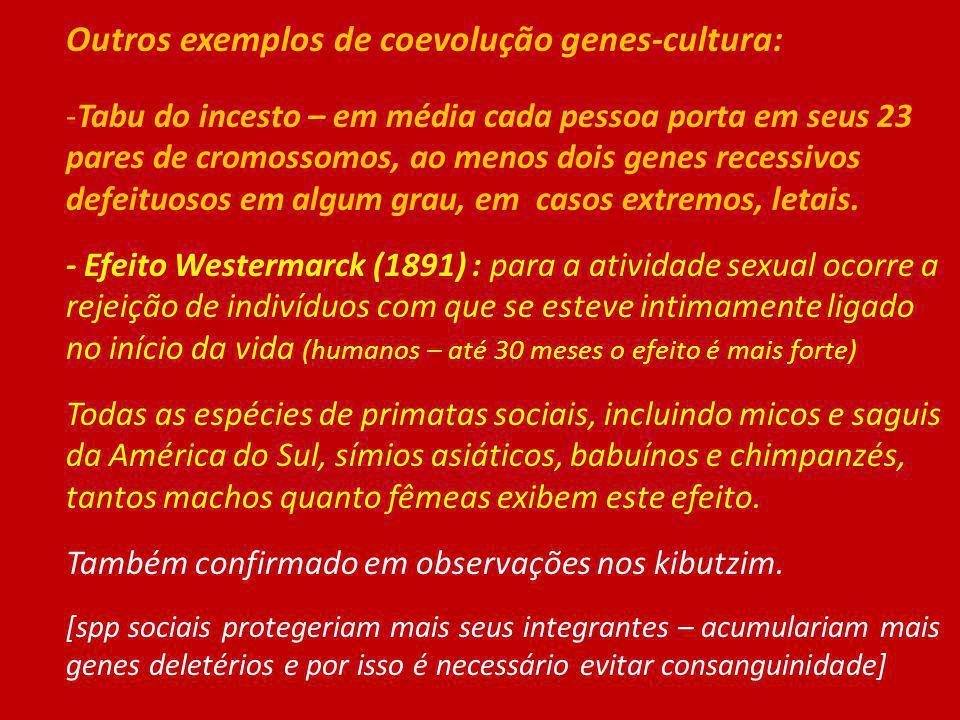 Outros exemplos de coevolução genes-cultura: