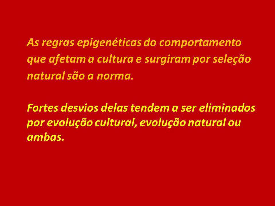 As regras epigenéticas do comportamento que afetam a cultura e surgiram por seleção natural são a norma.
