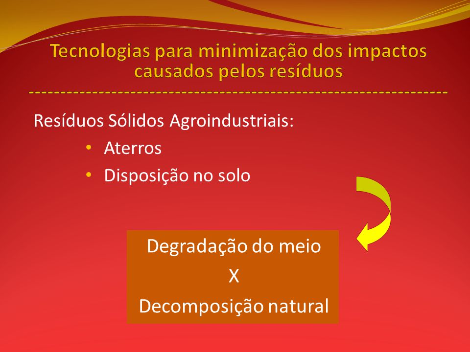 Tecnologias para minimização dos impactos causados pelos resíduos ------------------------------------------------------------------