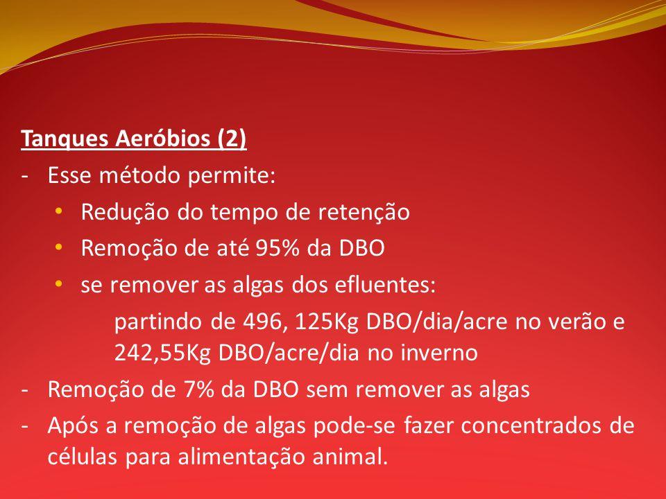 Tanques Aeróbios (2) - Esse método permite: Redução do tempo de retenção. Remoção de até 95% da DBO.