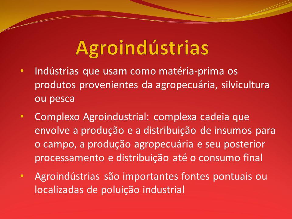 Agroindústrias Indústrias que usam como matéria-prima os produtos provenientes da agropecuária, silvicultura ou pesca.