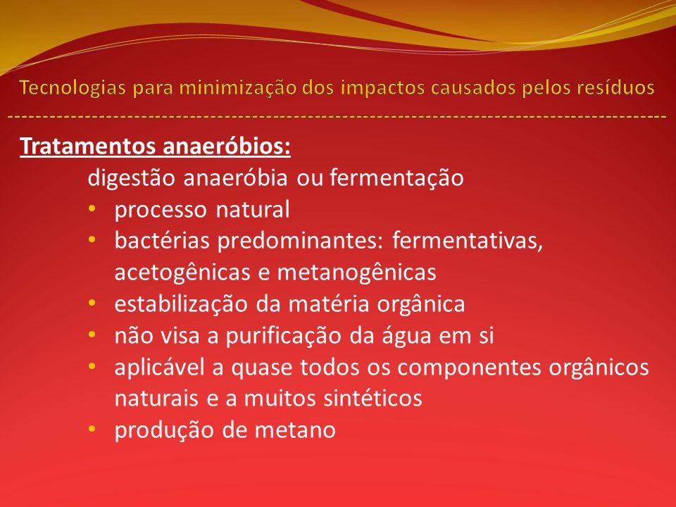 Tratamentos anaeróbios: digestão anaeróbia ou fermentação