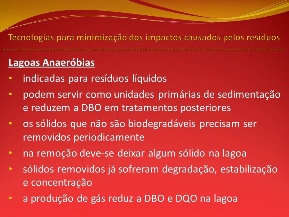 indicadas para resíduos líquidos