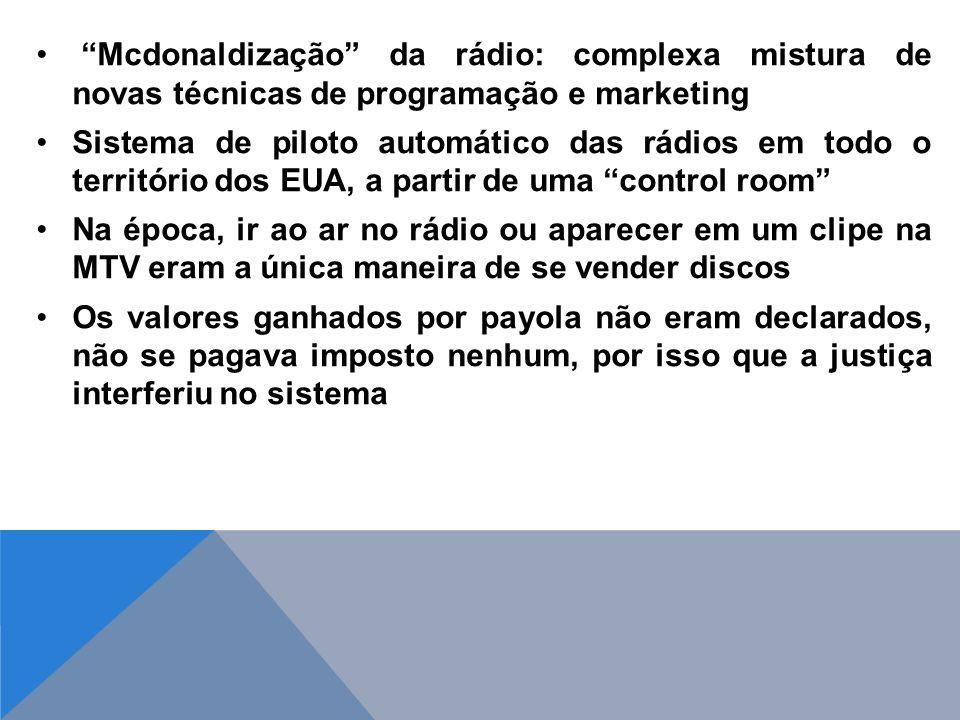 Mcdonaldização da rádio: complexa mistura de novas técnicas de programação e marketing