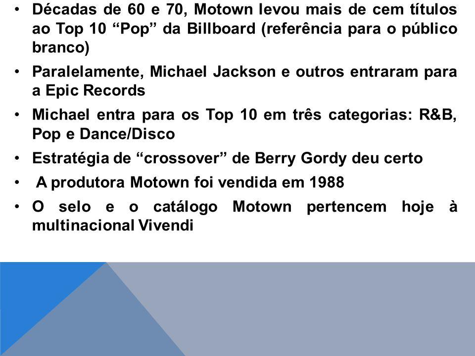 Décadas de 60 e 70, Motown levou mais de cem títulos ao Top 10 Pop da Billboard (referência para o público branco)