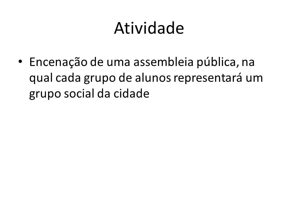Atividade Encenação de uma assembleia pública, na qual cada grupo de alunos representará um grupo social da cidade.