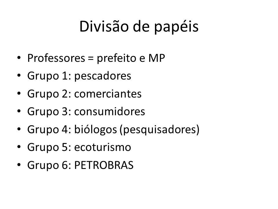 Divisão de papéis Professores = prefeito e MP Grupo 1: pescadores