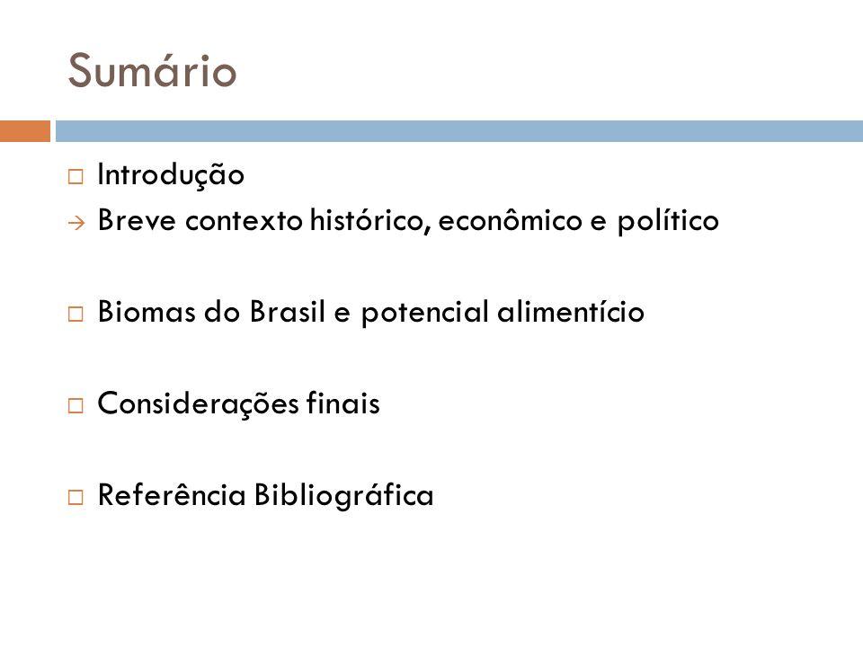 Sumário Introdução Breve contexto histórico, econômico e político