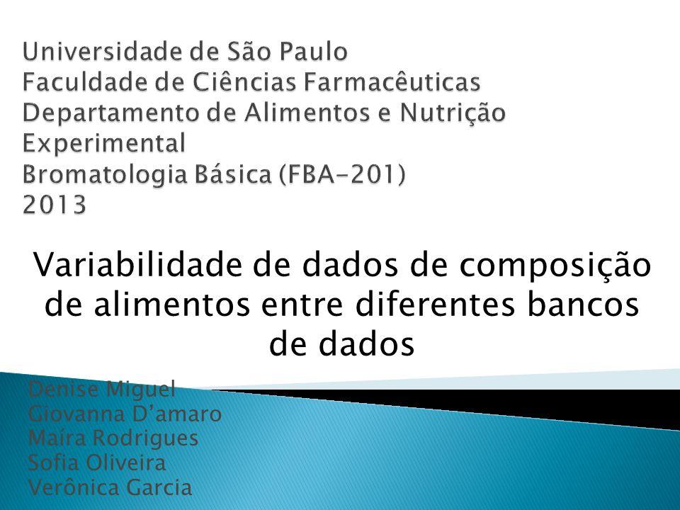 Universidade de São Paulo Faculdade de Ciências Farmacêuticas Departamento de Alimentos e Nutrição Experimental Bromatologia Básica (FBA-201) 2013