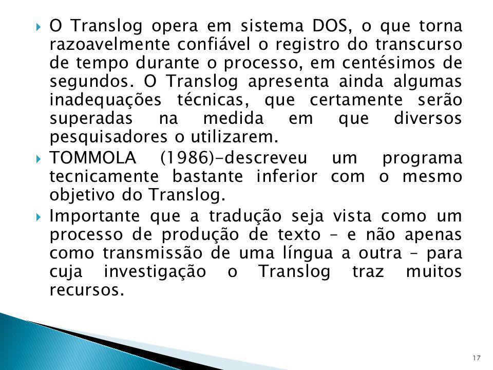O Translog opera em sistema DOS, o que torna razoavelmente confiável o registro do transcurso de tempo durante o processo, em centésimos de segundos. O Translog apresenta ainda algumas inadequações técnicas, que certamente serão superadas na medida em que diversos pesquisadores o utilizarem.