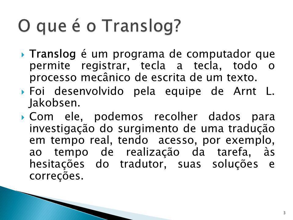 O que é o Translog Translog é um programa de computador que permite registrar, tecla a tecla, todo o processo mecânico de escrita de um texto.