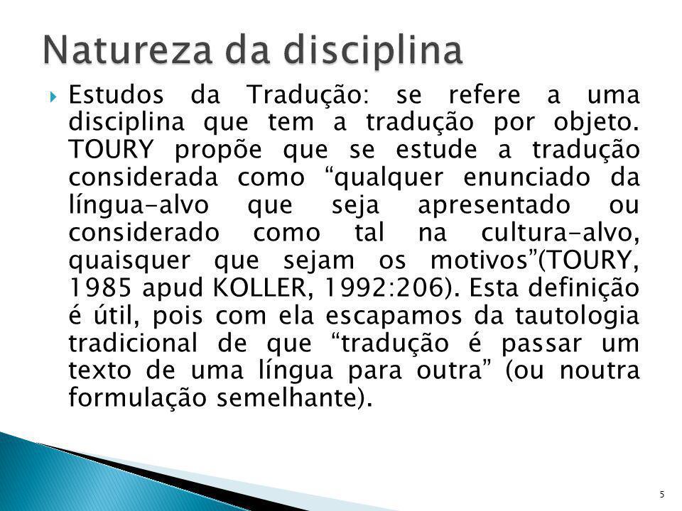 Natureza da disciplina
