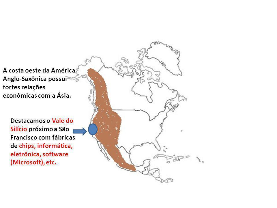A costa oeste da América Anglo-Saxônica possui fortes relações econômicas com a Ásia.