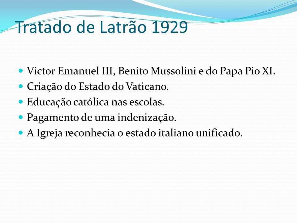 Tratado de Latrão 1929 Victor Emanuel III, Benito Mussolini e do Papa Pio XI. Criação do Estado do Vaticano.