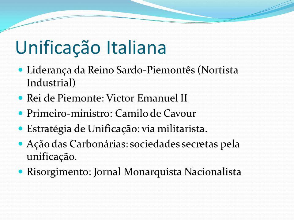 Unificação Italiana Liderança da Reino Sardo-Piemontês (Nortista Industrial) Rei de Piemonte: Victor Emanuel II.