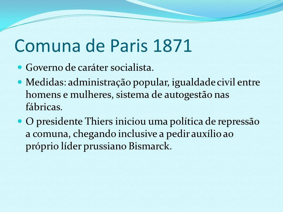 Comuna de Paris 1871 Governo de caráter socialista.