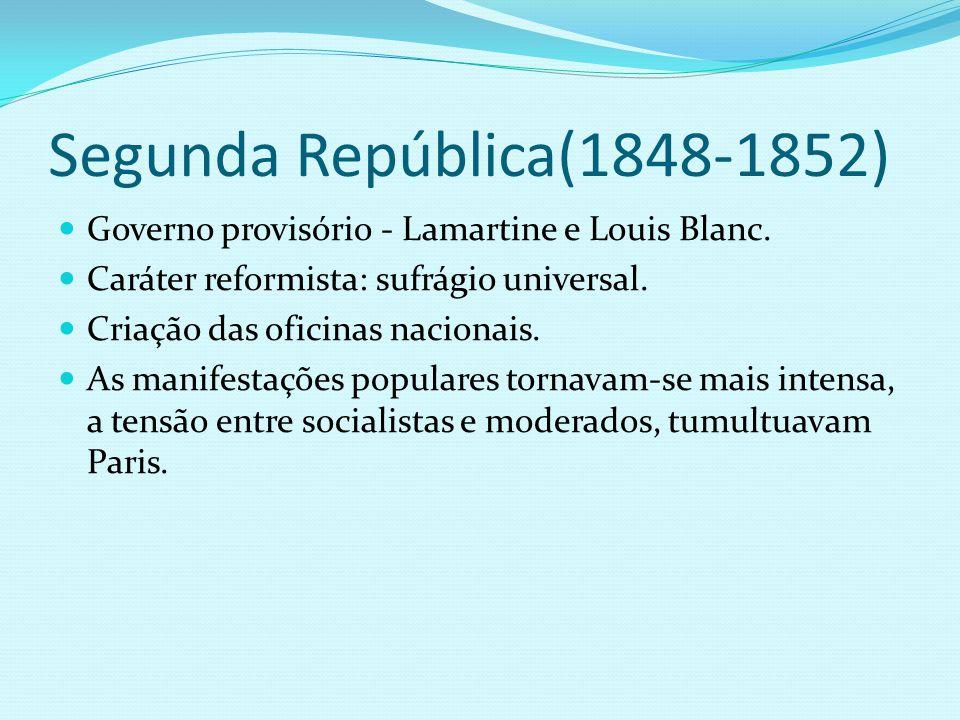 Segunda República(1848-1852) Governo provisório - Lamartine e Louis Blanc. Caráter reformista: sufrágio universal.
