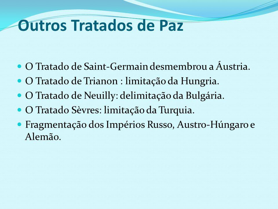 Outros Tratados de Paz O Tratado de Saint-Germain desmembrou a Áustria. O Tratado de Trianon : limitação da Hungria.